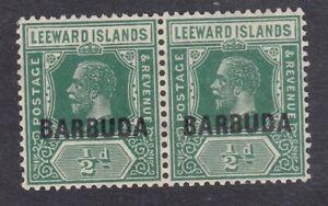 Antigua-KGV-Barbuda-1922-1-2d-Green-SG1-Pair-Mint-Hinged-E35A