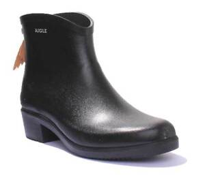 Aigle Miss Juliette Bottillon Lacet Black Womens Rubber Ankle Wellies Boots