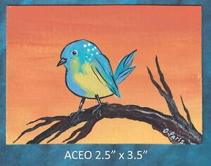 Original-ACEO-Bird-miniature-acrylic-painting-not-framed