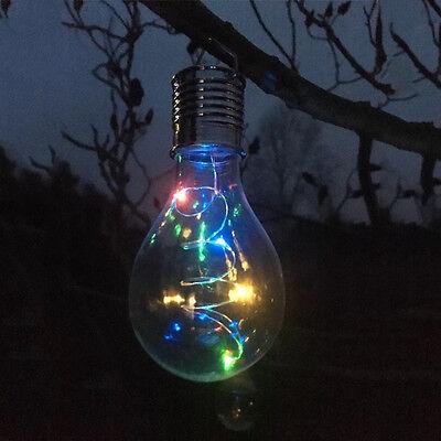 Solar Powered light Hanging bulbs wall Garden //Fence//Tree Blue