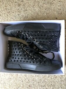 Gienchi-Black-Hi-Top-Studded-Sneakers-Lined-Made-In-Spain-Sz-40-RRP-425