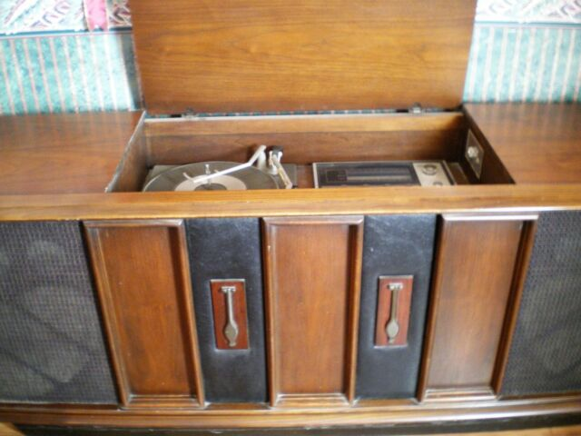 mid century 60 s rca vlt51w stereo console cabinet working record