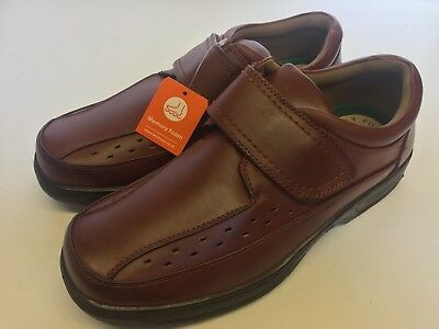 Mens Wide Fit Leather Shoes Comfort Tan Brown Memory Foam New Men/'s Size 7