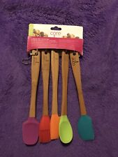 Core Kitchen Silicone Large 12 Inch Spoon And Mini 8.25 Inch Spoon Bamboo Handles