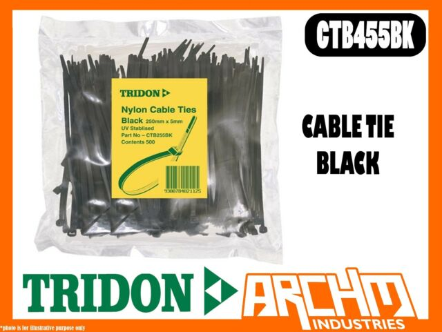 TRIDON CTB455BK - CABLE TIE - BLACK - NYLON UV 500 PACK SIZE 5MM X 450MM