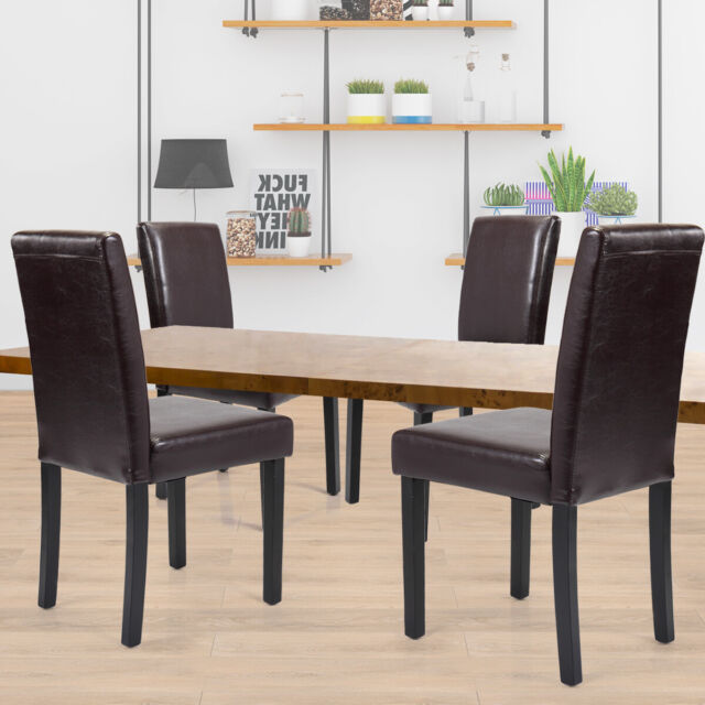 Set Of 4 Pcs Dining Room Chairs Kitchen Vintage Wood Pu Leather Design Brown New