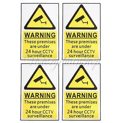 4Pcs 24 Hour CCTV Security Surveillance Stickers Camera Warning Sign Note Decals