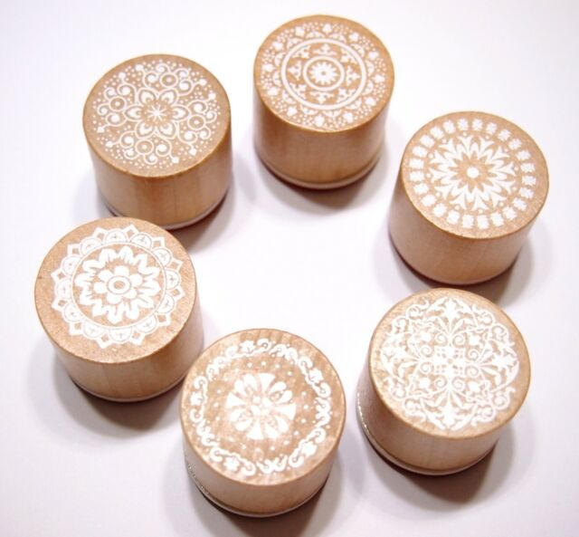 Set of 6 Assorted Floral Vintage Style Round Shape Wooden Rubber Stamps NEW!