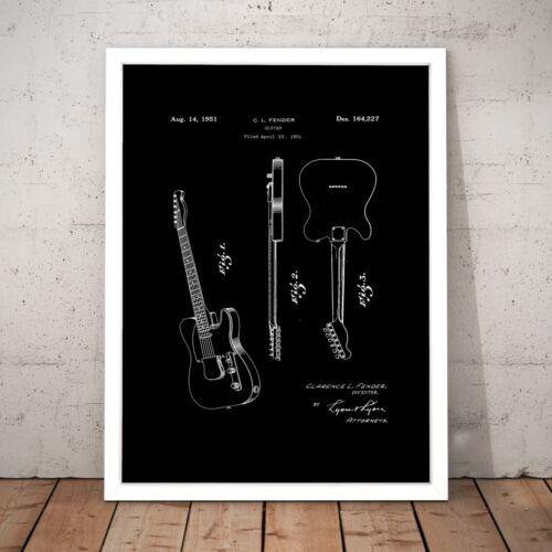 Vintage Guitar Telecaster Patent Plan Home Gift Decor Art Poster Print
