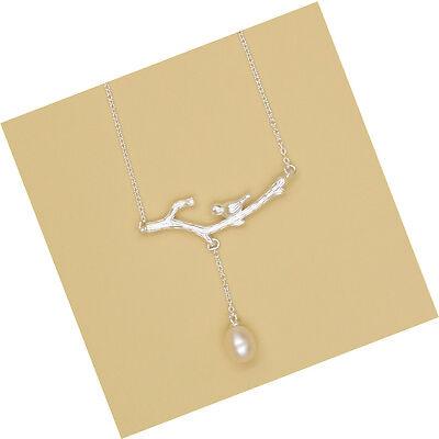 S925 Sterling Silver Elegant Bird Dangle Nature Freshwater Pearl Necklace/18k GP