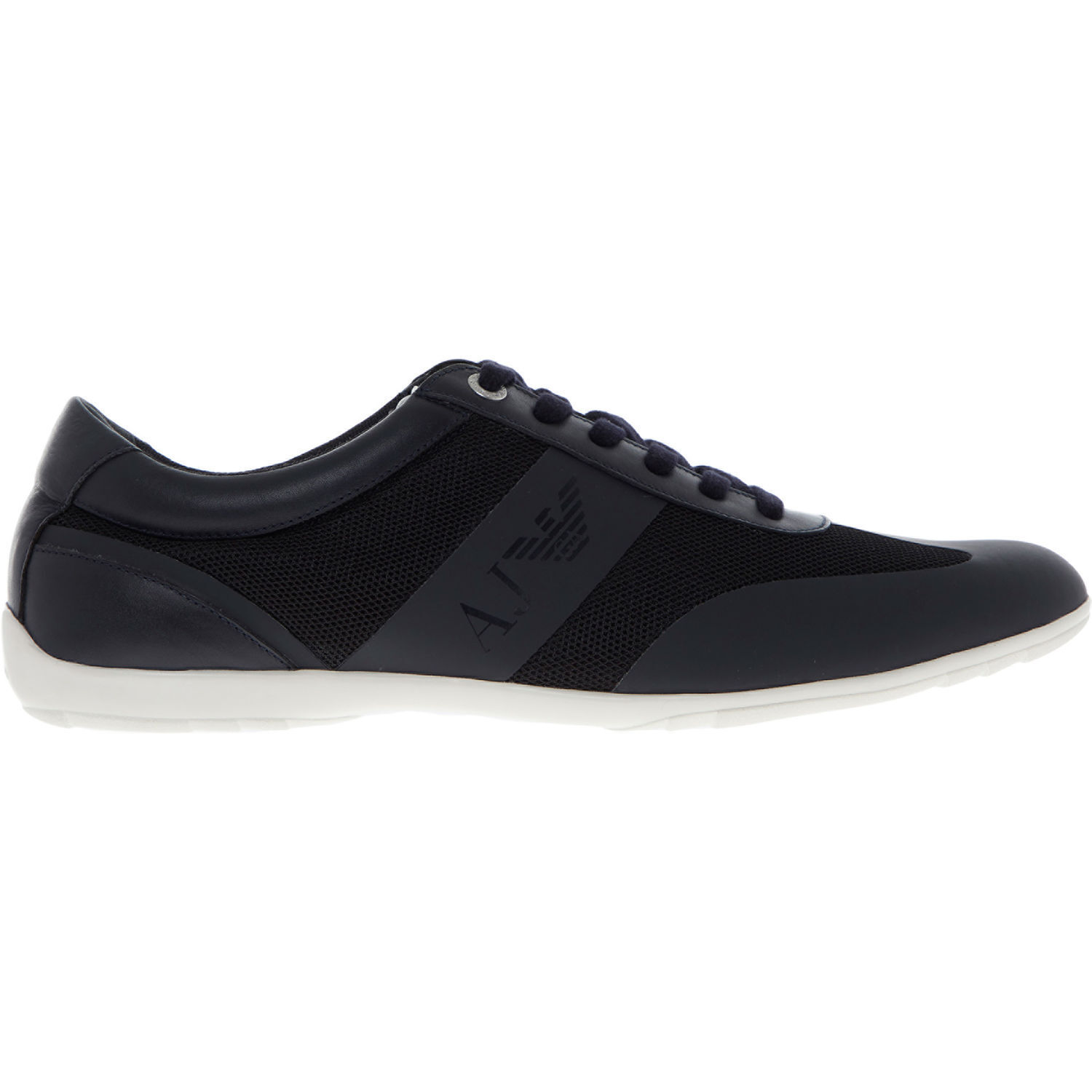 ARMANI JEANS Men's Navy Leather Low Risers Casual Trainers