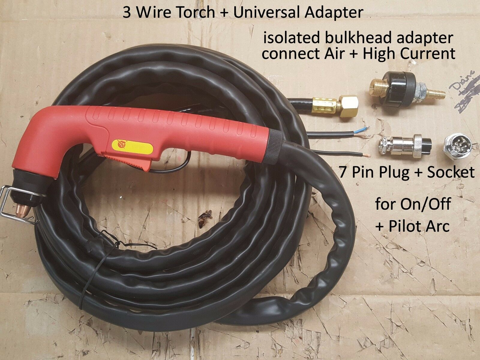 3 Wire Replacement Torch + Adapter + 7 Pin Plug Fix Repair ... Dayton Plasma Cutter Wiring Diagram on