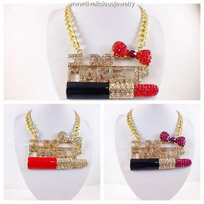 Crystal Over Sized I DO MAKEUP Statement Bling Diva Professional Necklace