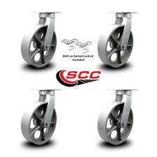 10 Inch Heavy Duty Semi Steel Cast Iron Swivel Caster Set With 2 Swivel Locks