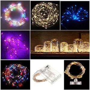 20-50-100-LED-Draht-Lichterkette-Unterwasser-biegsam-inkl-Batterie-Wasser