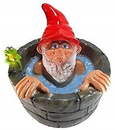 Wasserspeier Gartenzwerg Brunnen 29 cm Zwerg Garten bruchf. PVC Deko GRS 0959ws