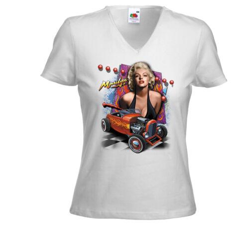 Rockabilly Damen T-Shirt Marilyn Hot Rod weiß Pinup Hollywood V8