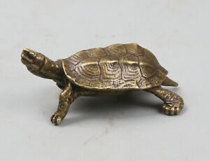 53MM-Collect-Chinese-Bronze-Animal-Tortoise-Cuckold-Turtle-Amulet-Pendant-Statue