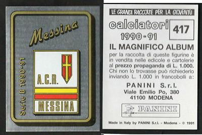 Panini Calciatori 2000//01 N 666 LODIGIANI MESSINA  SCUDETTO NEW DA EDICOLA!!