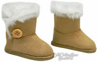 Deal Tan Boots W/ Fur Trim Button Closure For American Girl Doll Clothes Shoes