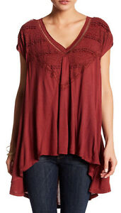 a9924aaa5fdaa2 Free People OB470271 Abigail Lace-Detail Short Sleeve V-Neck Tee Top ...