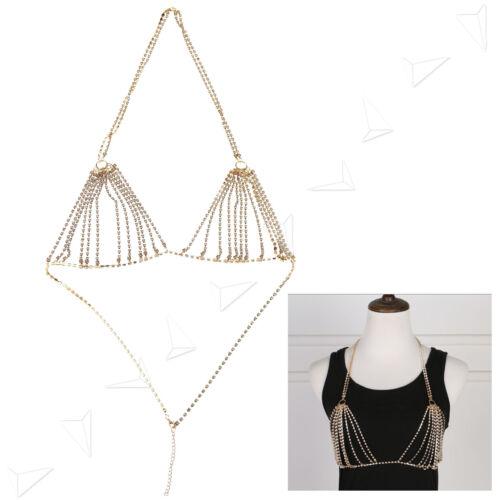 Shiny Crystal Rhinestone Bra Chest Body Chain Harness Necklace Bikini Beach