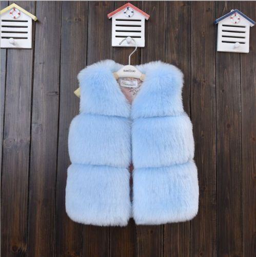 Hot Toddler Kids Girls Boys Faux Fur Vest Gilet Winter Waistcoat Coat Bodywarmer