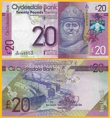 Scotland 20 Pounds p-229Kd 2015 Clydesdale Bank UNC Banknote