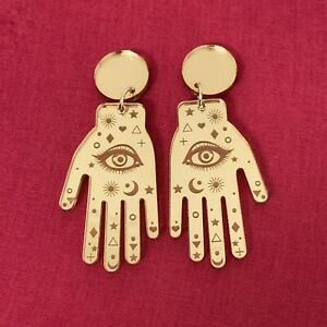 Palmistry-Fortune-Telling-Hands-Gold-Mirror-Acrylic-Earrings