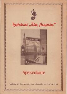 Vintage-1950s-Restaurant-Menu-ZUM-HANSEATEN-Hamburg-Germany-1955