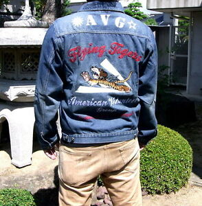 Mens-Jeans-Jacket-Outerwear-Embroidered-Denim-Indigo-Coat-Retro-Flying-Tigers