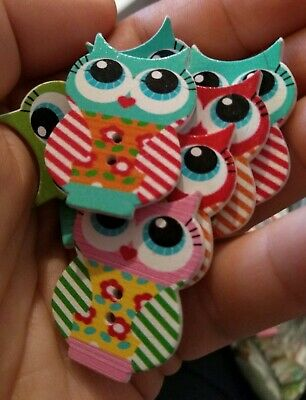 LARGE OWL Buttons Pkt of 3 **NEW** 40mm wide variety of cols /& designs