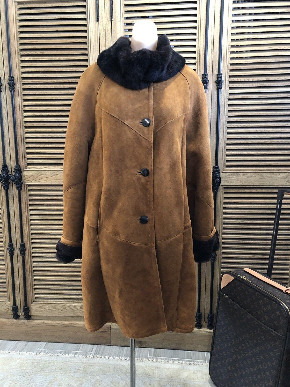 GORGEOUSl Woman's ITALIAN Shearling Sheepskin Cognac Fur Coat Large BNWOT