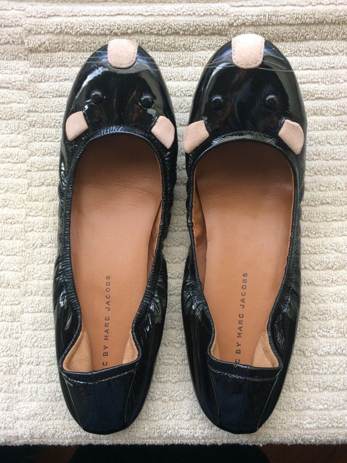 Marc By Marc Jacobs Charol Negro Lindo ratones Bailarina Zapatos Zapatos Zapatos sin Taco pegadizo  Sin impuestos