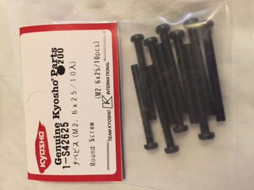 KYOSHO MET ROUND CROSS HEAD SCREWS M2.6 x 25mm 10 PIECES NIP 1-S42625