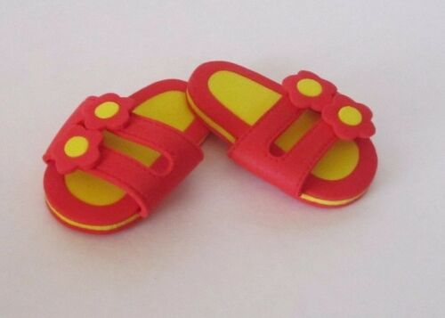 2-Strap RED /& YELLOW FOAM SANDALS with FLOWERS fits American Girl