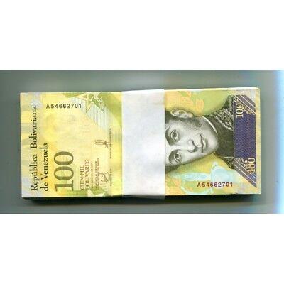100,000 2017,P,about UNC banknote 2-bundles Bolivares 200 x Venezuela 100000