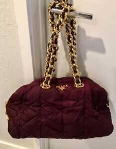 c7e80f4cee11 Gorgeous! Large PRADA Quilted Dark Burgundy and Gold Handbag Purse ...