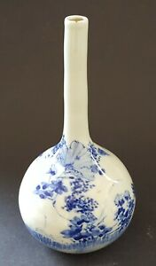 Japanese-blue-on-white-vintage-Victorian-oriental-antique-bottle-vase