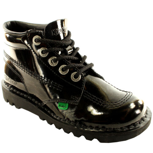 Unisex Kids Junior Kickers Kick Hi Black Patent Back To School Shoes All Sizes