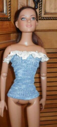 Blue /& White Marbled Strapless Top w//Lace American Model 22 in Doll