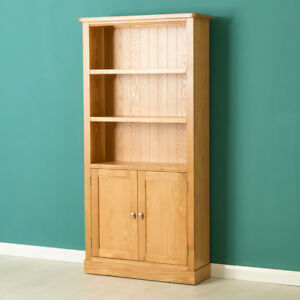 Image Is Loading Hampshire Oak Bookcase With Cupboard Light Solid