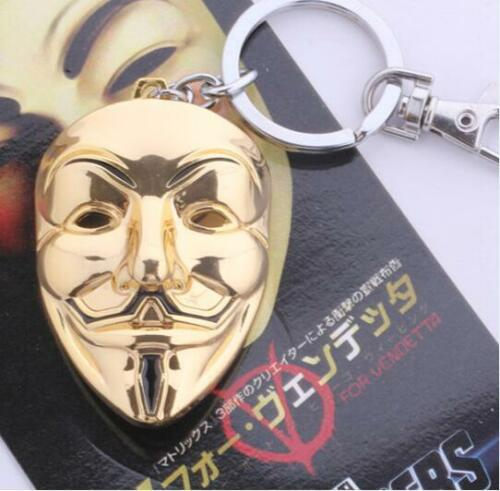 Top Grade Bijoux Tone V pour Vendetta Anonymous Masque Film Pendentif Clé Chaîne