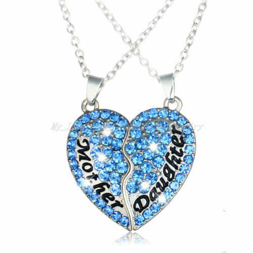2PC Heart Mother Daughter Mom Girls Crystal Pendant Necklace Family Women Gifts