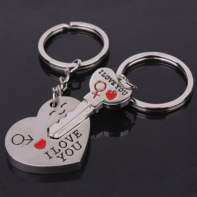 """I Love You"" Heart+Arrow + Key Couple Key Chain Ring Keyring Keyfob Lover Gift"