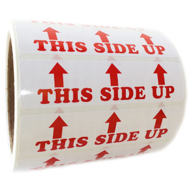 "Red ""This Side Up"" 3 Arrows Labels Stickers - 1"" by 4"" - 500 ct Roll"