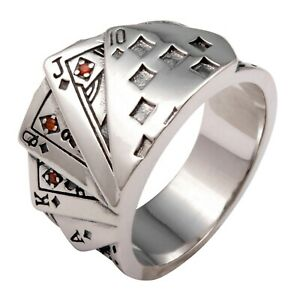 Details zu Karten Ring Roter Stein Ass König Poker Royal Flush 925 Sterling Silber Oxidiert