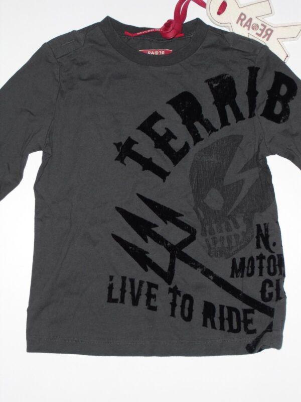 (108) Cooles Rare-the Kid Boys Langarm Shirt Mit Totenkopf & Biker Druck Gr.92