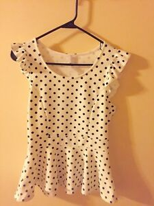 Forever-21-Polka-Dot-Black-And-White-Peplum-Top-Blouse-Size-M