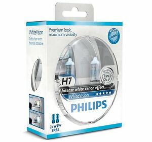 2-AMPOULE-H7-PHILIPS-AUDI-A2-A3-A4-A6-A8-WHITEVISION-XENON-EFFECT-W5W